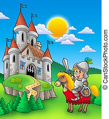 Knight on horse with castle - color illustration