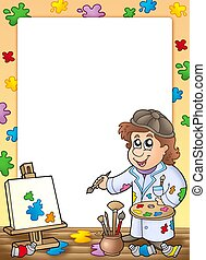 Frame with cartoon artist - color illustration