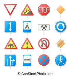 Road Sign Set icons in cartoon style isolated on white...