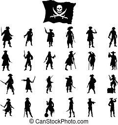 Pirates crew silhouettes set isolated on white background