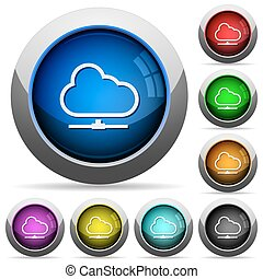 Cloud network button set - Set of round glossy Cloud network...