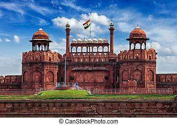 Red Fort Lal Qila with Indian flag. Delhi, India - India...