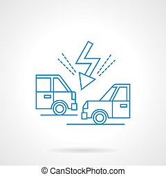Accident on road flat line vector icon