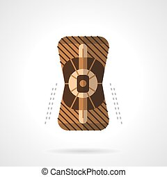 Sport knee pad flat color design vector icon - Brown knee...