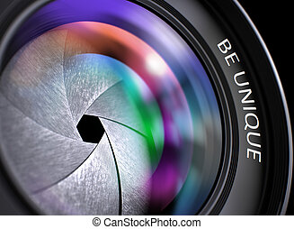 Closeup Digital Camera Lens with Be Unique. - Front Glass of...