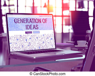 Laptop Screen with Generation of Ideas Concept.