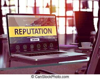 Laptop Screen with Reputation Concept. - Modern Workplace...