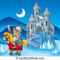 Knight on horse with winter castle - color illustration