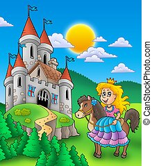 Princess on horse with castle - color illustration.