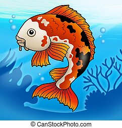Red koi fish in water - color illustration