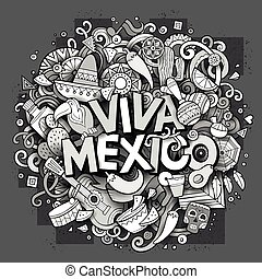 Viva Mexico sketchy outline festive background. Cartoon...