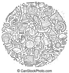 Line art vector hand drawn doodle cartoon set of Latin...
