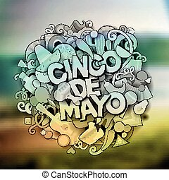 Cinco de Mayo. Cartoon vector hand drawn Doodle...