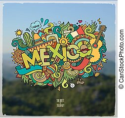 Mexico hand lettering and doodles elements emblem - Mexico...