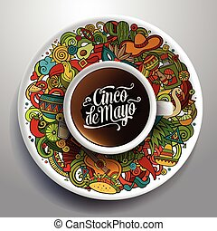 Vector latinamerican illustration with a Cup of coffee -...