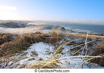 icy cold snow covered links golf course and sea - snow...