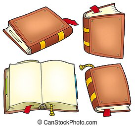Various old books collection - color illustration.