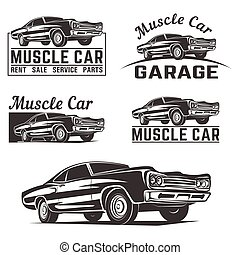 Muscle car vector logo emblem - Muscle car vector poster...
