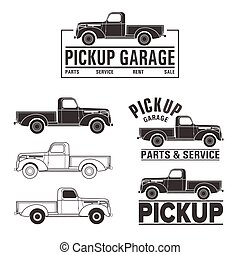 car 4x4 pickup truck off-road logo elements - Vector...