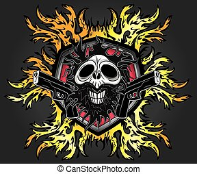 dead zombie evil horror skull with pistols and fire flames...