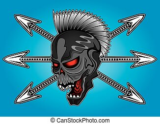 punk cyber human skull with arrows background