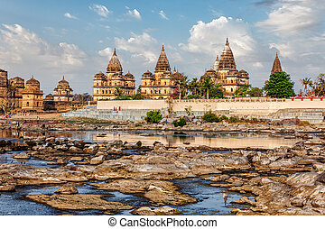 Royal cenotaphs of Orchha, Madhya Pradesh, India - Tourist...