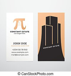 Constant Estate Abstract Vector Business Card Template Pi...