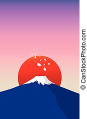 fuji mountain with falling sakura petals and red sun in...