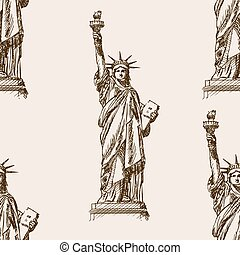 Liberty Statue hand drawn sketch seamless vector