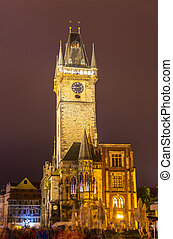 Prague town hall in the night