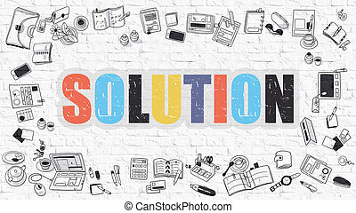 Solution Concept Multicolor on White Brickwall - Solution...