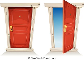 Red Door Open And Closed - Illustration of a cartoon entry...