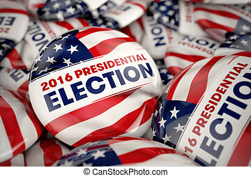 2016 Presidential Election Buttons - Closeup shot of one...