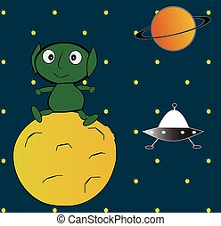 Alien World - An alien sit on a distant satellite, with...