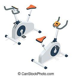 Exercise bike isolated on white background. Exercise bike icon. Flat 3d isometric vector illustration.