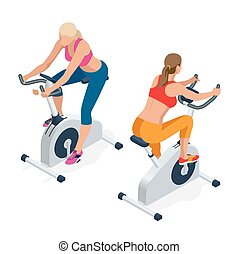 Fitness woman working out on exercise bike at the gym....