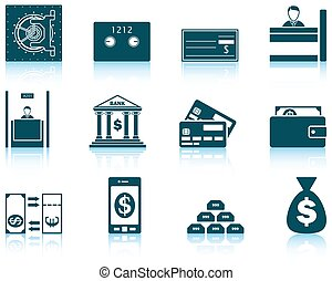 Set of twelve bank icons with reflections. Vector...