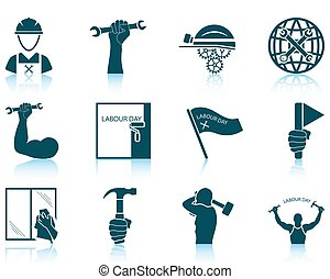 Set of Labour Day icons - Set of twelve Labour Day icons...