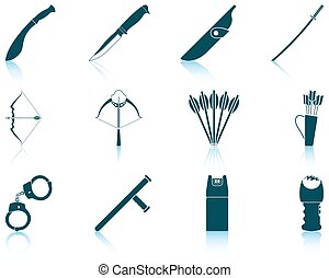 Set of weapon icons - Set of twelve weapon icons with...
