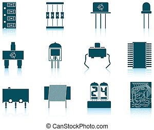 Set of electronic components icons - Set of twelve...