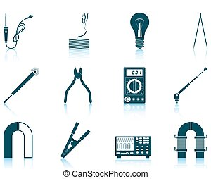 Set of soldering icons - Set of twelve soldering icons with...