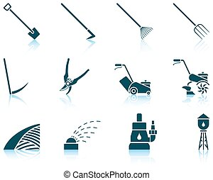 Set of gardening icons - Set of twelve gardening icons with...