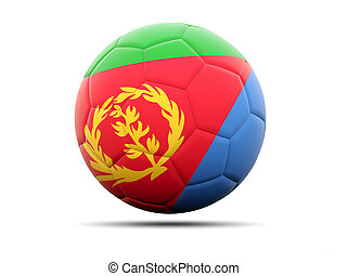 Football with flag of eritrea 3D illustration