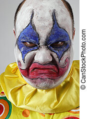 Evil psycho clown - A nasty evil clown, angry and looking...