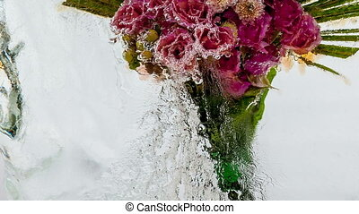 Frozen flowers Creative abstract bright flowers and ice with...