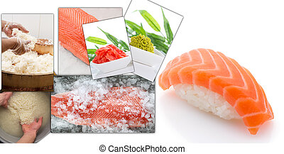 Salmon nigiri and collage with process of making sushi isolated on white background