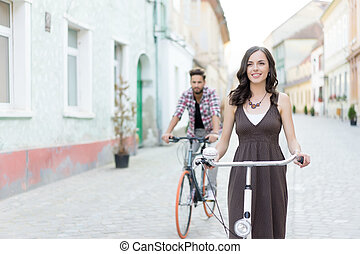 friends riding their bikes