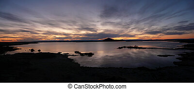 Sunset at the lake - Sunset over tranquil Lake Myvatn,...