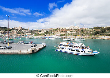 Port of Mgarr on the Gozo island at Malta - Port of Mgarr on...
