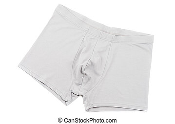 Boxer briefs isolated on a white - Grey mens Boxer briefs...